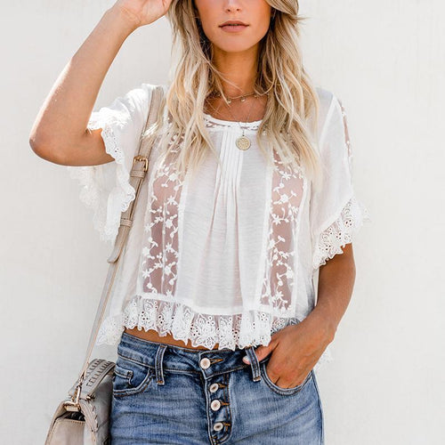 Fashion Lace See-Through Short Sleeve Blouses