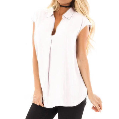 Lapel V Neck Short Sleeve Plain Casual Blouses