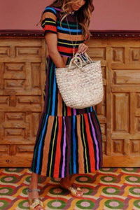 Round Neck  Color Block Striped  Short Sleeve Maxi Dresses