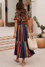 Load image into Gallery viewer, Round Neck  Color Block Striped  Short Sleeve Maxi Dresses