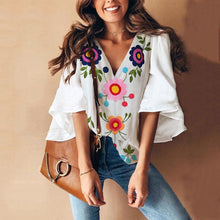 Load image into Gallery viewer, Sexy V Collar Floral Print Bell Sleeve Blouse