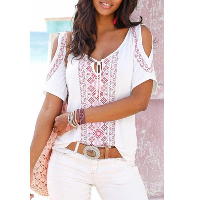 Open Shoulder Round Neck  Printed T-Shirts