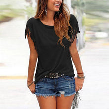 Load image into Gallery viewer, Round Neck  Fringe  Plain T-Shirts