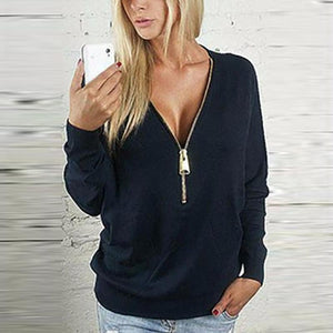 Black Zipper V-Neck Bat Sleeve Top
