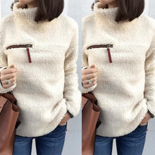 Load image into Gallery viewer, High Neck  Zipper  Plain Sweaters