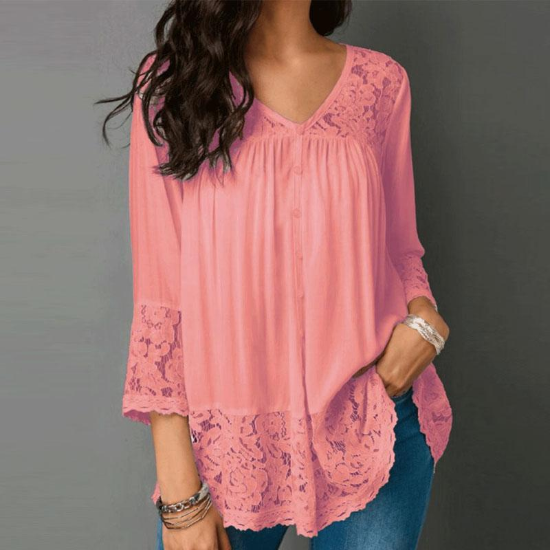 Autumn Spring Summer  Polyester  Women  V-Neck  Decorative Lace  Decorative Button  Plain  Three-Quarter Sleeve Blouses