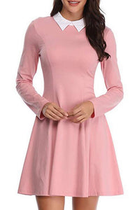 Fold Over Collar  Plain  Long Sleeve Skater Dresses