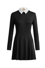 Load image into Gallery viewer, Fold Over Collar  Plain  Long Sleeve Skater Dresses