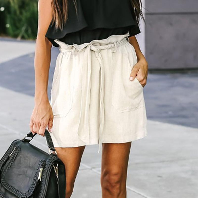 Fitted  Belt   Plain  Casual  Skirts