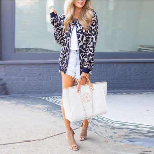 Crew Neck  Zipper  Leopard Jackets