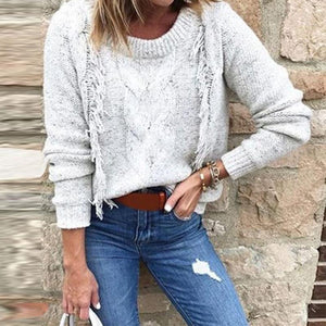 Round Neck Tassels Long Sleeve Plain Knitting Sweaters