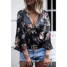 Load image into Gallery viewer, Deep V Neck  Floral Printed  Bell Sleeve Blouses