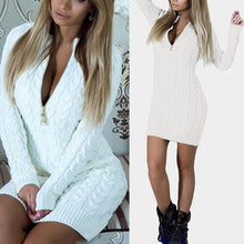 Load image into Gallery viewer, Deep V Neck  Zipper  Plain Sweater Bodycon Dresses