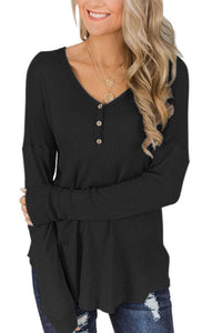 V Neck  Decorative Buttons  Plain T-Shirts