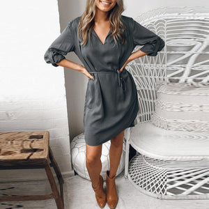 Fashion V Collar Belt Gray Casual Dresses