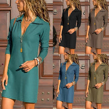 Load image into Gallery viewer, Casual Pure Color Of   Tall Waist Lapel Long Sleeved Mini Dress