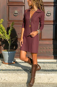 Casual Pure Color Of   Tall Waist Lapel Long Sleeved Mini Dress
