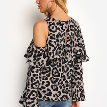 Load image into Gallery viewer, Off-Shoulder Leopard Printed Long Sleeve T-Shirts