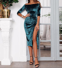 Load image into Gallery viewer, Casual Fashion   Shoulder A Word Split High Elastic Pleuche Maxi Dress