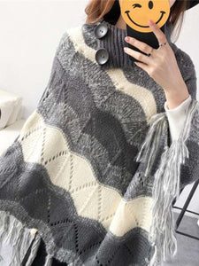 High Neck Color Matching Loose Bat Sweater