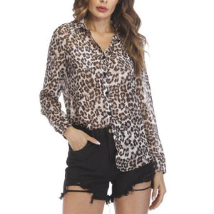 Sexy Leopard Printed See Through Long Sleeve Blouses