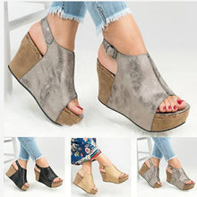 Load image into Gallery viewer, Peep Toe Sandals Adjustable Buckle Wedge Sandals