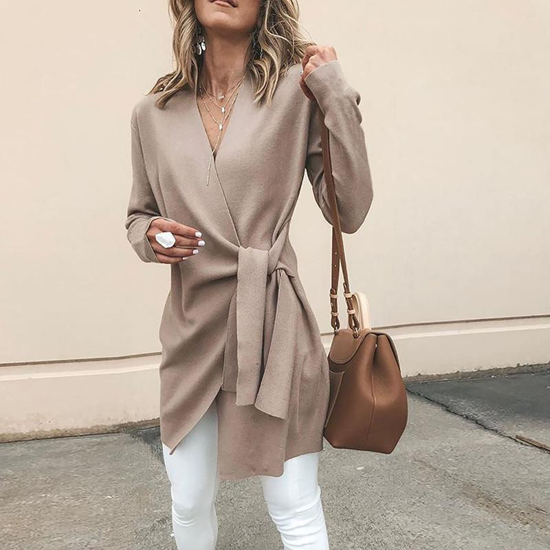 Solid Color V-Neck Casual Outerwear