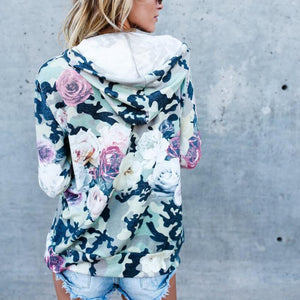 Autumn Winter Loose Hooded Zipper Printed Coat
