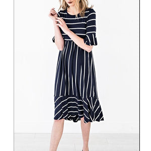 New Round Collar Striped Short Sleeved Dress