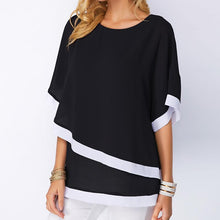 Load image into Gallery viewer, Batwing Sleeve Patchwork Irregular Chiffon Blouse