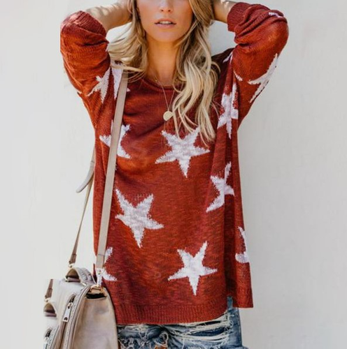 Round Neck  Geometric  Basic Sweaters