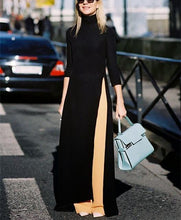 Load image into Gallery viewer, Fashion Pure Color Open Long Sleeves Maxi Dress