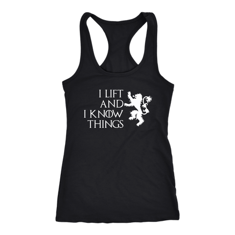 Image of I Lift And I Know Things - Racerback Dark