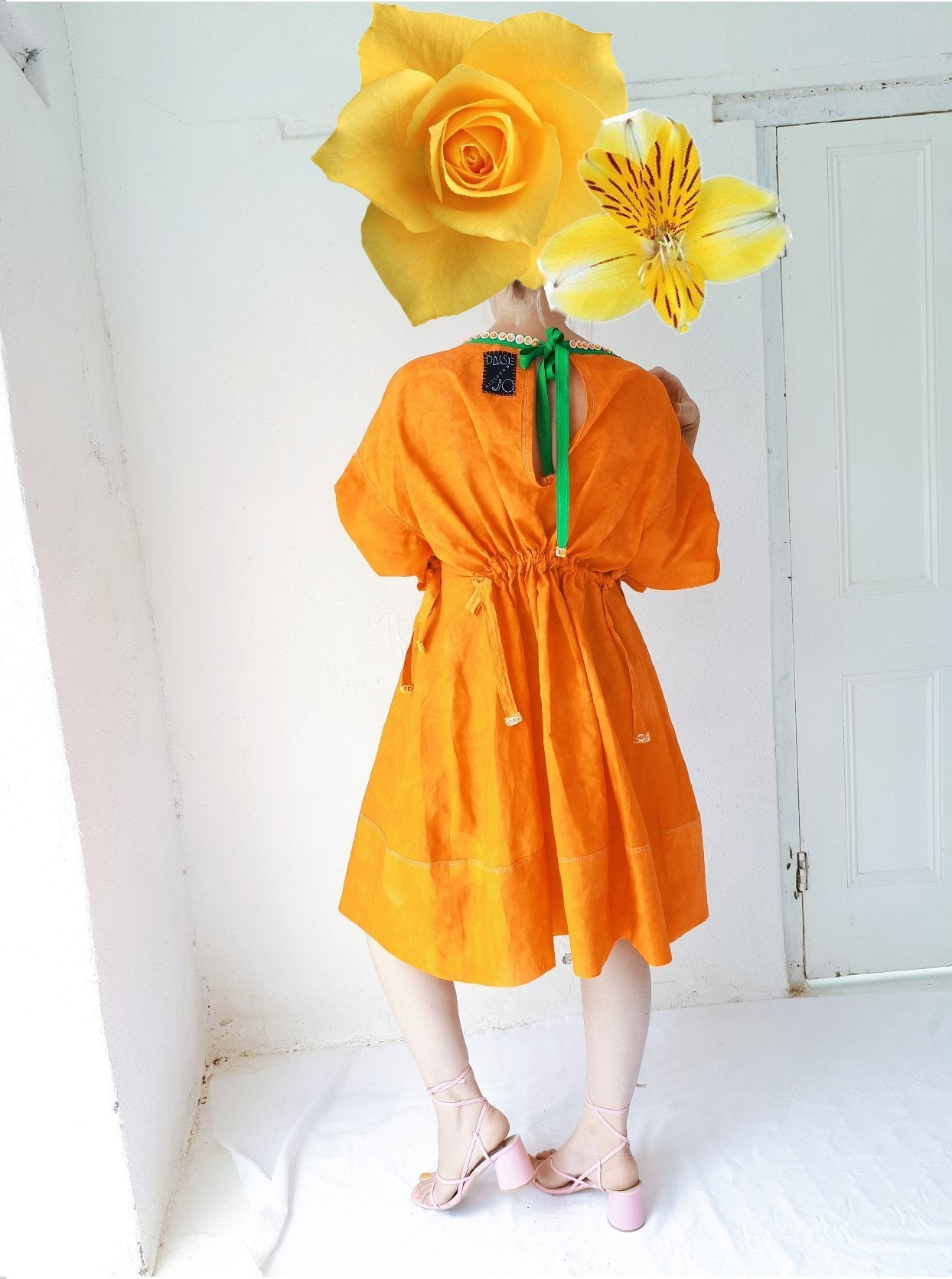 013 Hand Dyed Orange Linen Dress
