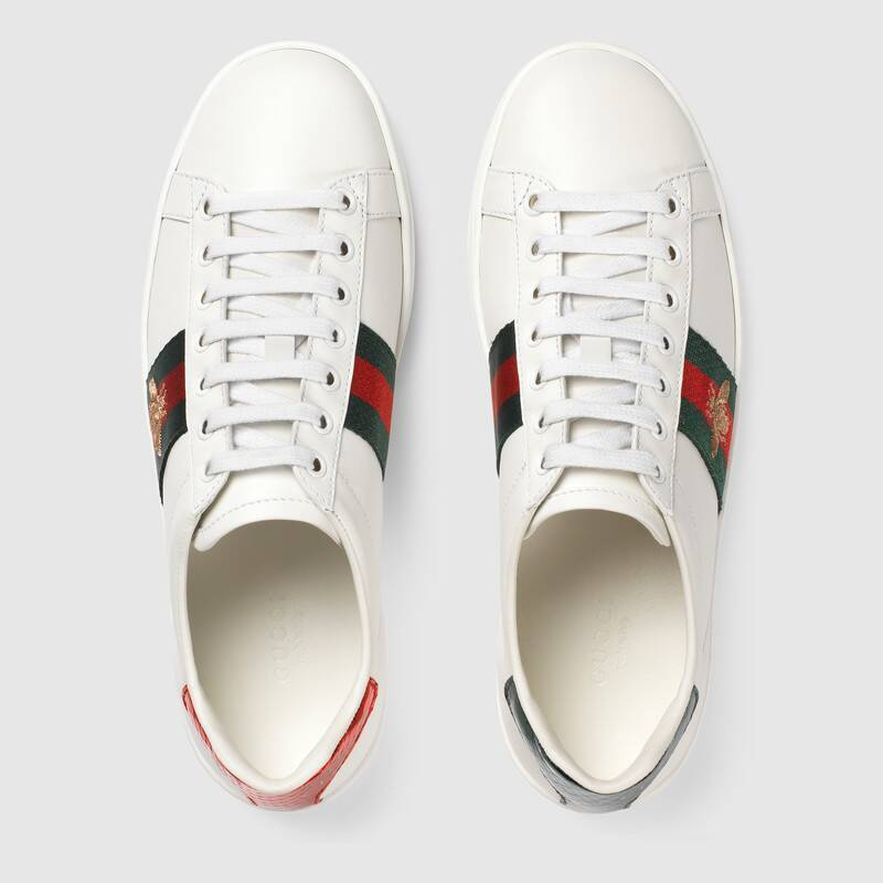 cc543b4d8 Gucci Women's Ace Embroidered Sneaker Bee White Leather – Yubbyu