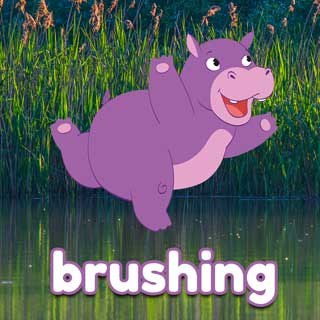 Holly the Hippo toothbrushing