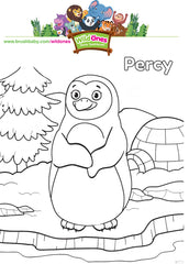 WildOnes Percy Penguin BrushBaby colouring activity page