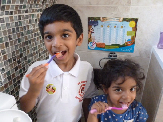 Children brushing teeth dental care