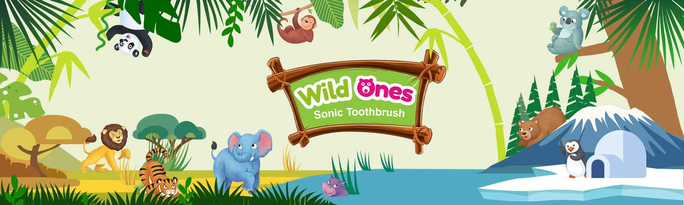 WildOnes Tribe Sonic Toothbrushes in their own natural habitats igloos, jungle, sea and sand