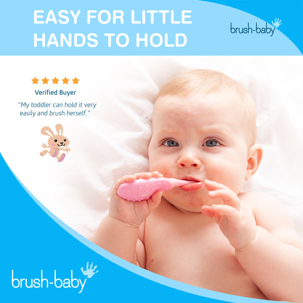 FlossBrush (0-3 Years) - Pack of 4 Pink - BrushBaby