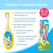 FlossBrush (0-3 Years)  Yellow Pack of 4 - BrushBaby