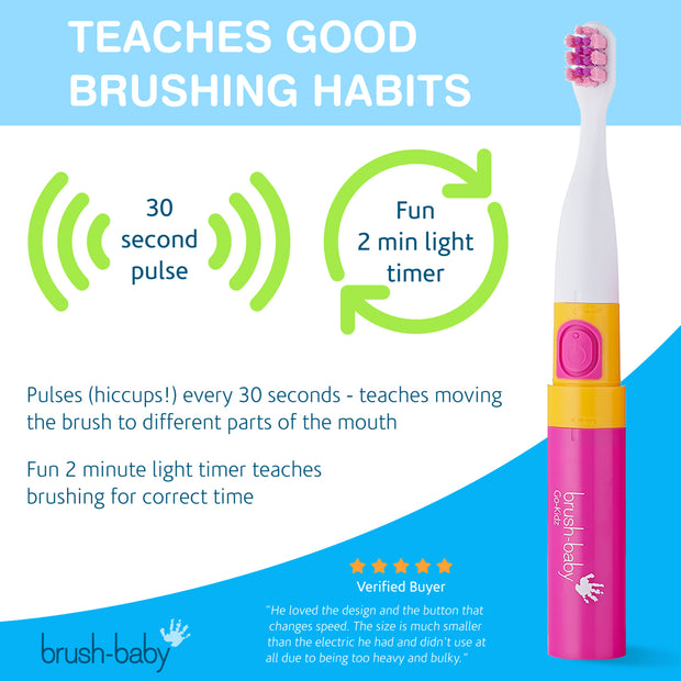 Brush-Baby Go-Kidz Electric Toothbrush - Pink - BrushBaby