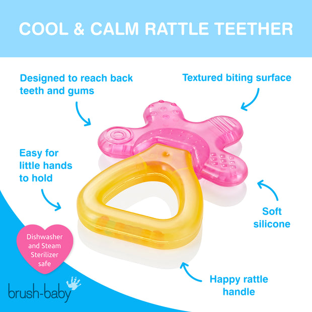 Cool&Calm Rattle Teether (4+months) - Pink & Orange - BrushBaby