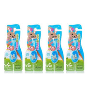 4 pack of blue 0-3 years flossbursh toothbrushes with wide biteable handle