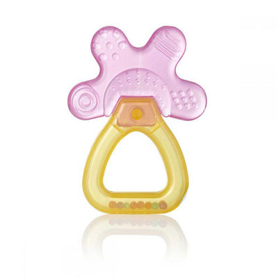cool and clam pink and yellow unpackaged brush baby teether with rattle handle