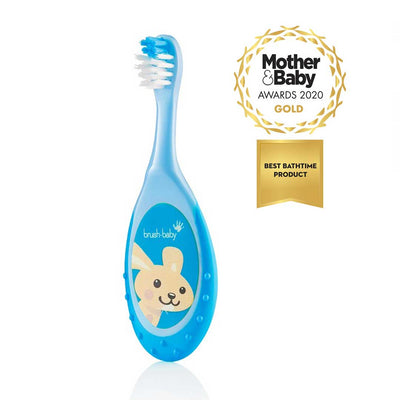 Blue children's award-winning Flossbrush with wide gripping handle