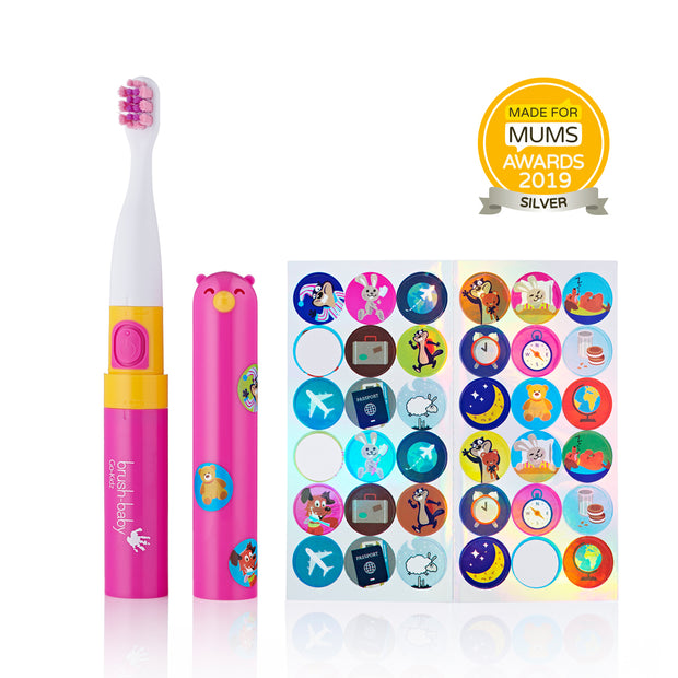 Go-kids award winning Pink electric travel toothbrush with funky themed stickers