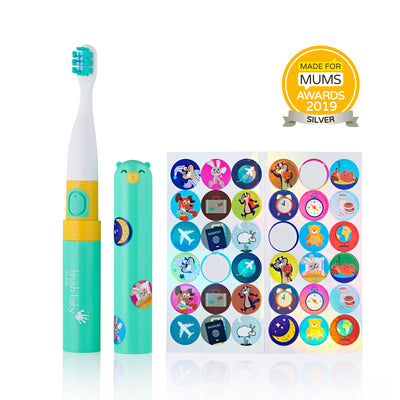 Electric travel toothbrush in Teal and White with themed stickers