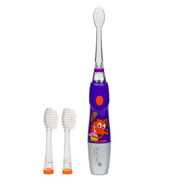 kidzsonic purple childrens electric toothbrushes with 2 clear replacement tooth brush heads