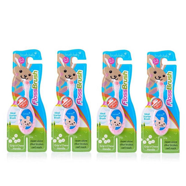 4 pack of pink flossbrush toothbrushes for 0-3 year olds
